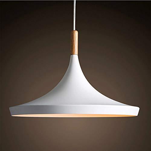 Moderne Lampe Speise Lampe Suspension weiße Suspension Höhenverstellbarkeit E27 Retro Schlafzimmer φ36CM Aluminium Kronleuchter Tischlampe im Wohnzimmer Lampe Holz * H25.5CM
