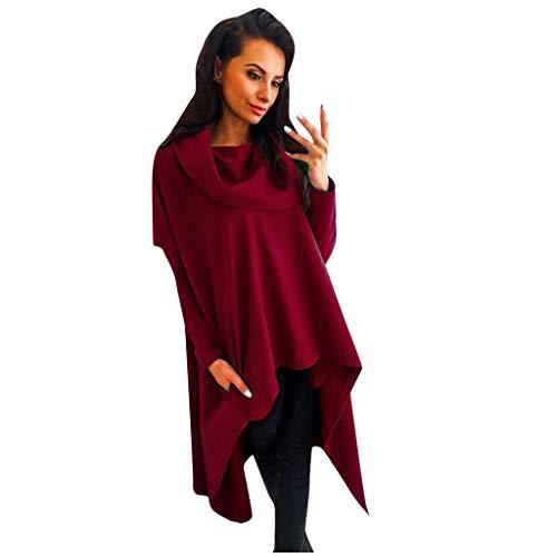 Xuthuly Herbst-Frauen Arbeiten kühle Normallack-unregelmäßiger Rand-lose mit Kapuze Sweatshirt-Oberseiten-Damen-beiläufige Lange Hülsen-Pullover-Bluse um