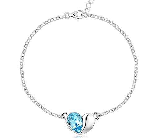 J&F - Bracciale da donna con ciondolo cuore e cristallo Swarovski Crystal, placcato Rodio