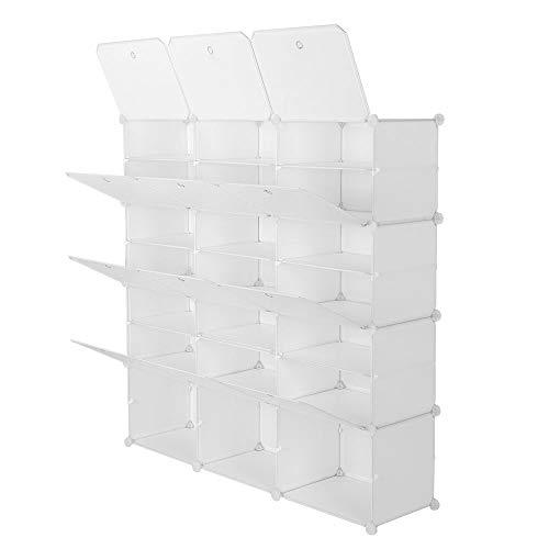 7-Tier Portable Shoe Rack 42 Pairs Shoe Storage Plastic Organizer Cabinet for Entryway Closet White 21 Cube