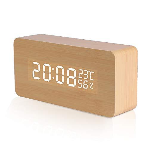 LED Wecker Digitaler Wecker, Vegena Holz Tischuhr mit Sprachsteuerung USB Digitaluhr 3 Stufen einstellbare Helligkeit, Datum, Temperatur und Luftfeuchtigkeit, für Zuhause Schlafzimmer Office