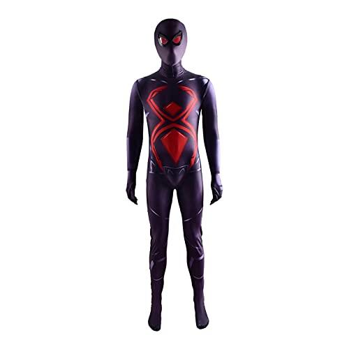 ADZPA Marvel Spiderman Cosplay niños Adulto Traje Negro versátil Apretado Cuerpo Traje superhéroe película Tema Fiesta Accesorios...