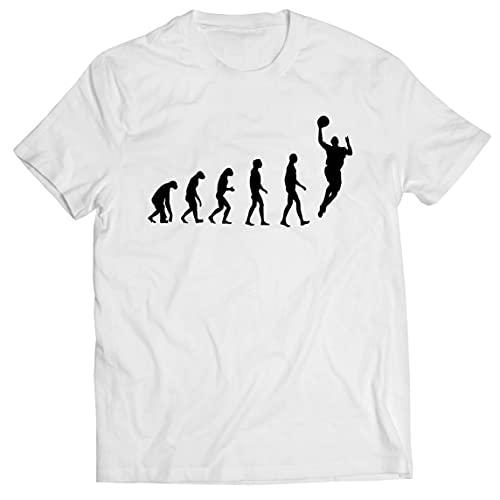 Camisetas Hombre evolución de Baloncesto - Canasta de la Calle, me Encanta Este Juego, Gran Fan de Regalo (Medium Blanco Negro)