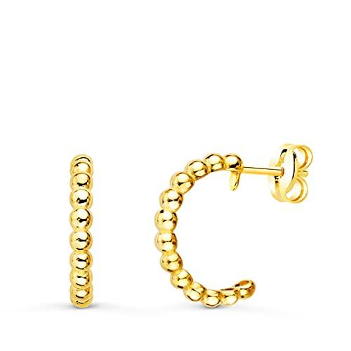 Pendientes Aros Bolitas Oro Amarillo 18K
