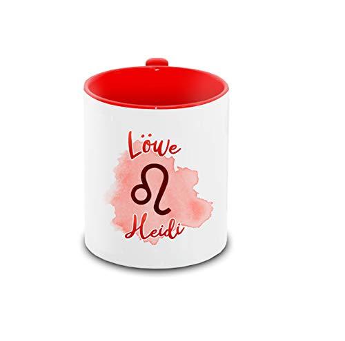 Tasse mit Namen Heidi und Sternzeichen-Motiv Löwe im Lettering-Stil   Keramik-Tasse rot   Astrologie-Geschenk