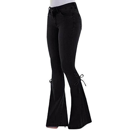 N\P Vaqueros de mezclilla vintage para mujer, estilo casual, delgados, elásticos, con parte inferior de campana, retro, acampanados, cintura media, largos.