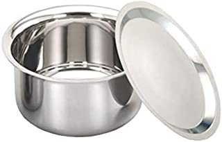 finaldeals Stainless Steel Patila Tope Topia Bhaguna Round Patila Capacity 3 Litre Steel tope Pan & Pot with Steel Lid