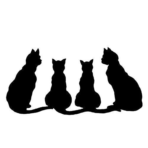 SUIFENG Pegatinas de Coche 22.9X11.4 Cm Lindo Gato Familia Vinilo Calcomanía Divertidas Pegatinas De Coche Estilo De Coche Decoración De Camión Negro/Plata