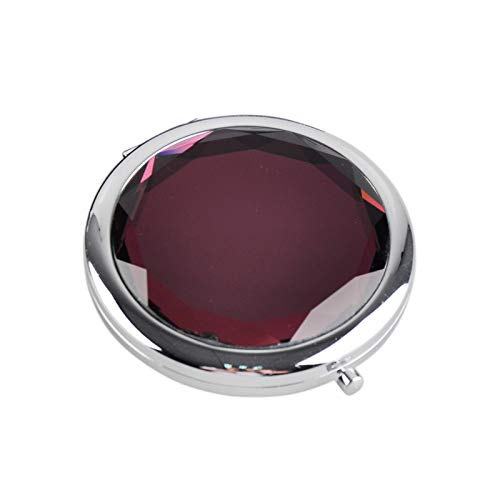 HUIHH Metal Pocket Makeup Mirror Fold Round Crystal Engraved Cosmetic Compact Mirror Portable 70 x 15 mm E