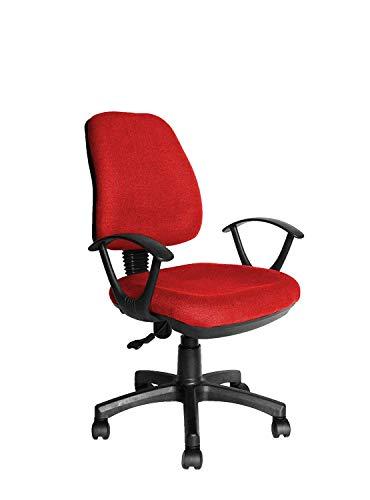 EGLEMTEK Poltrona Sedia Operativa con Braccioli Ufficio Studio Scrivania in Tessuto (Colore Rosso)