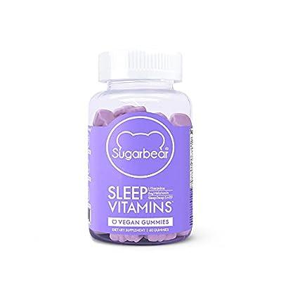 SugarBear Sleep, Vegan Gummy Vitamins with Melatonin, 5-HTP, Magnesium, L-Theanine, Valerian Root, Lemon Balm (1 Month Supply)