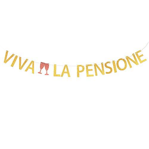 VINFUTUR Striscioni Pensione Banner Bandiera Decorazione per Festa di Pensione per Vecchio Viva LA Pensione