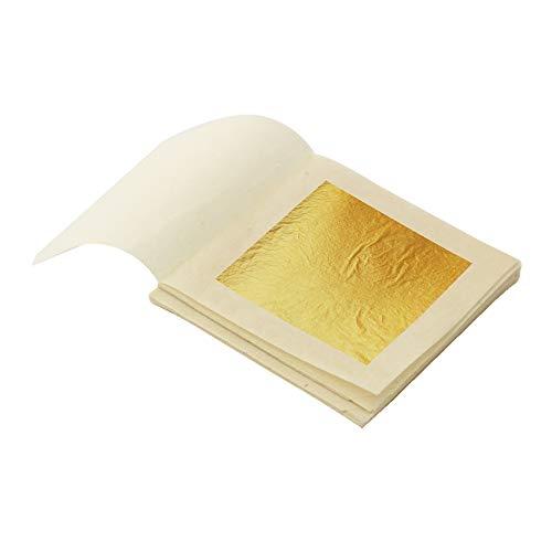 VGSEBA 24K Foglia Oro Commestibile, 4,33x4,33cm Lamina d'oro Puro commestibile da Cottura a Torta, Decorazione Alimentare, Cura della Pelle, Trucco, doratura, Decorazione, Salute e Spa (10 Fogli)