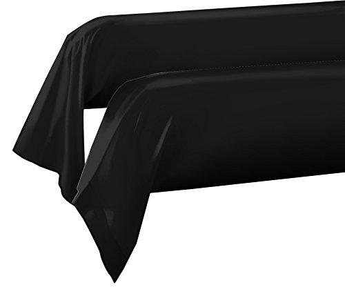 HOME LINGE PASSION Classique Lot de 2 taies de traversin | 57 Fils | 100% Coton, Noir, 85x185 cm