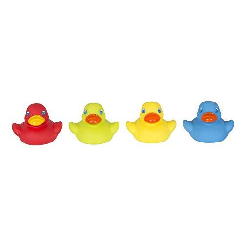 Playgro Mini-patos para el baño, 4 Piezas, Totalmente sellados, Resistentes al agua y la suciedad, Ideales para el baño del bebé, A partir de 6 meses, Libres de BPA, Colorido, 40212