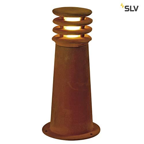 SLV LED Pollerleuchte RUSTY 40, rund | Premium Standleuchte zur individuellen Außen-Beleuchtung im Rost-Design | Outdoor Wege-Leuchte, Sockellampe, Einfahrt-Beleuchtung, Garten-Lampe | LED inklusive
