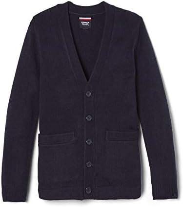 French Toast Boys Big Anti Pill V Neck Cardigan Sweater Standard Husky Navy 8 product image