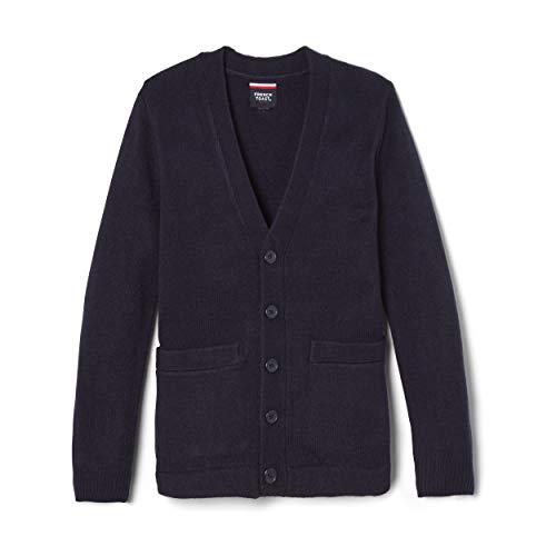French Toast Boys' Big Anti-Pill V-Neck Cardigan Sweater (Standard & Husky), Navy, 10-12