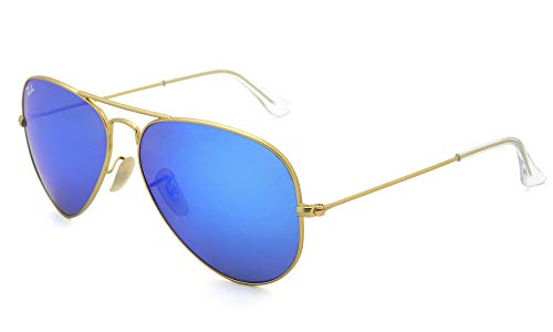 Ray-Ban RB3025, Gafas de Sol Unisex Adulto, Dorado (frame: Gold, lenses: Crystal green-blue mirrored 112/17), Large