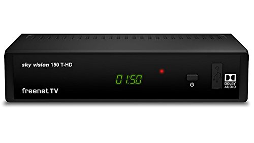 sky vision 150 T-HD DVBT-2 Receiver - (Digitaler Receiver für DVB-T2, HD TV Receiver, HEVC H.265 Decoder, HDMI, USB 2.0, LAN, SCART, Dolby DIGITAL Plus, freenet TV Receiver), Schwarz