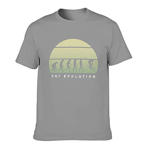 STELULI Camiseta de algodón para hombre de la evolución de esquí divertida y elegante -