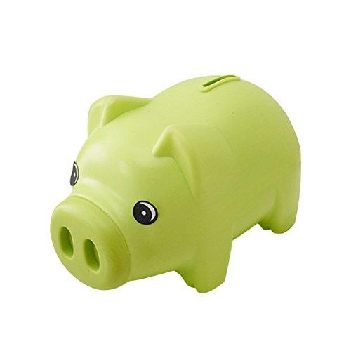 TOYMYTOY Sparbüchse von Schweinchen Geburtstags-Weihnachtsgeschenk für Mädchen u Jungen 19cm x 11cm (Grün)
