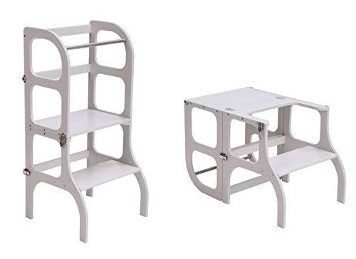 Descapotable Torre de Aprendizaje/Mesa Step'n Sit, all-in-one, Montessori learning tower - GRIS/SILVER clasps