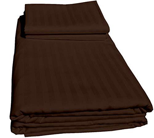 Duvet Cover Set Double Size, Chocolate 3 PCs Duvet Set (1 Zipper Closure Duvet Cover + 2 Pillow case) - Hotel Quality 100% Cotton Duvet Cover with Zippered & coner ties (Chocolate Stripe, Double Size)