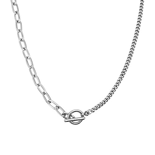 siqiwl Woman Necklaces Asymmetric Chains Toggle Clasp Circle Penant Women Choker Femme Collar Silver-Color