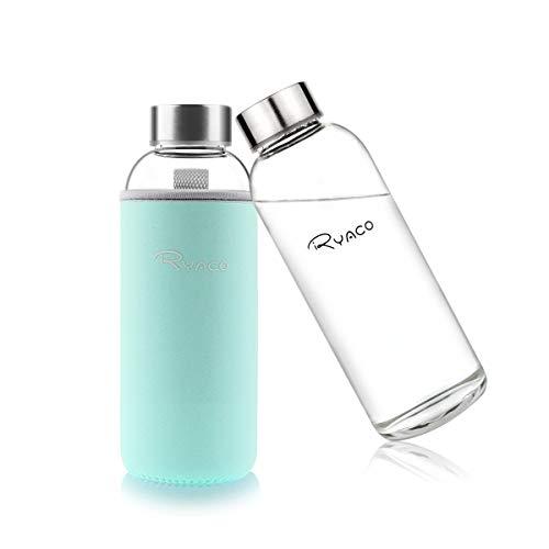 Ryaco Botella de Agua Cristal 450ml, Botella de Agua Reutilizable 15oz, Sin BPA Antideslizante Protección Neopreno Llevar Manga con Acero Inoxidable Tapas Elegante de Borosilicato Botella