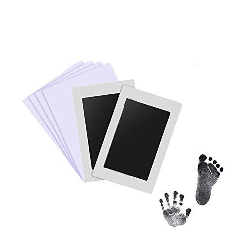 Aikvigss Baby Inkless Pad para menos de 6 meses huellas de bebé Hand prints and Fingerprints Kit con 4 tarjetas de impresión extra Perfect Keep Baby Memory (negro)