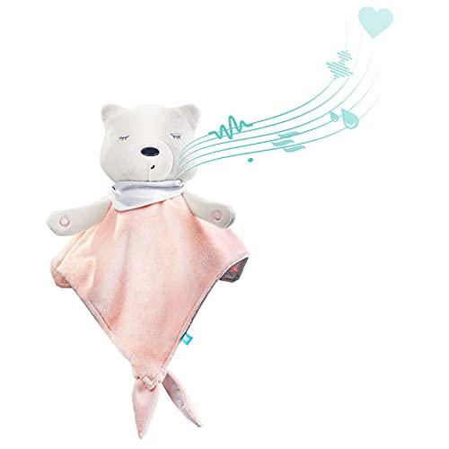 myHummy avec capteur doudou rose blanc premium | Peluche bruit blanc bébé | Machine à bruit blanc - battement coeur bruit des vagues | my hummy avec capteur de sommeil peluche endormissement bebe