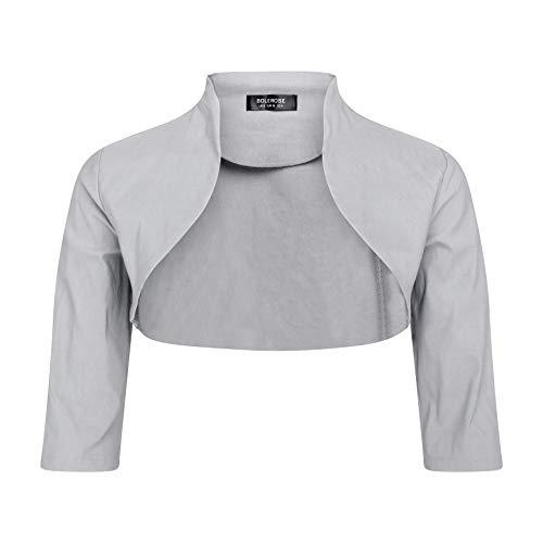 BOLEROSE 3/4 Sleeve Formal Tailored Bolero Shrug (Silver, US 20)
