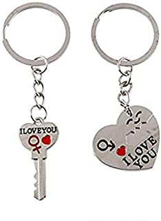 34d7e0597b DALUCI 1 Pair Heart Cute Couple Keychain Keychain I LOVE YOU Key Ring  Silver Craft