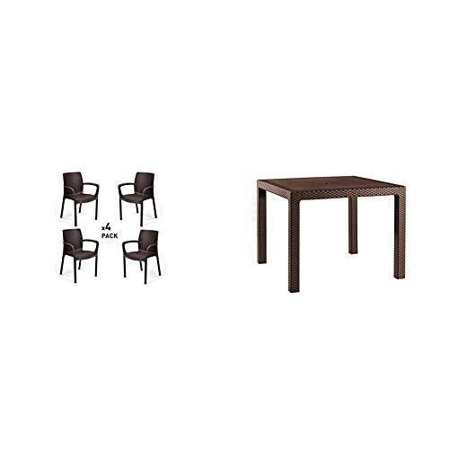 Keter Bali Set de 4 sillas de jardín, Marrón + Mesa de Comedor Exterior Quartet de 4 plazas, Color marrón