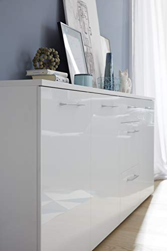 Germania Kommode 3888-84 mit Glasfronten | In Weiss | 194 x 82 x 40 cm