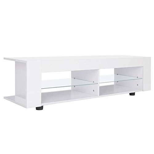 Wakects tv-meubel, lage tafel voor tv, ontvanger, dvd-speler, voor eetkamer, wit, 134 x 39 x 29 cm