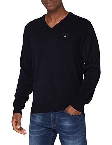 GANT Herren Superfine Lambswool V-Neck Pullover, Marine, XS