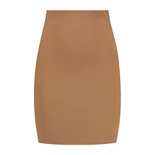 Bye Bra Niewidoczna spódnica, półpoślizgowa spódnica z wysoką talią, lekka kontrola brzucha, bezszwowa bielizna modelująca, bielizna wyszczuplająca, beżowa/brązowa/czarna, S-XXL