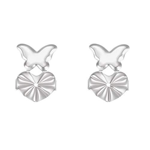 Rouku Pendientes Levantador de Hebilla Pendientes de botón mágico Fijador de elevación de Pendientes de botón (Mariposa Plateada)