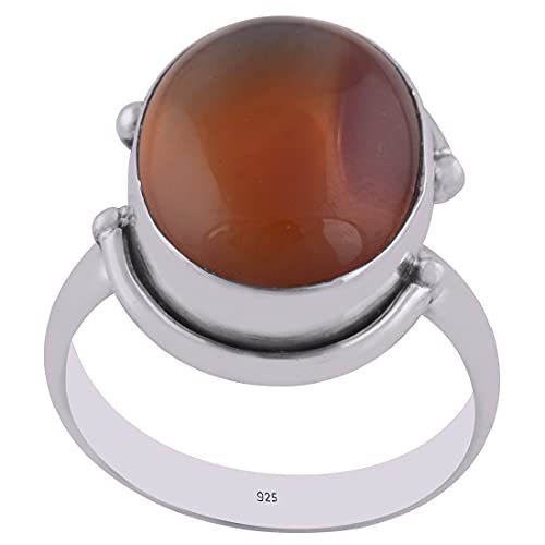 925 Sterling Silver Red Natural Onyx Women's Oval Shape Ring Band