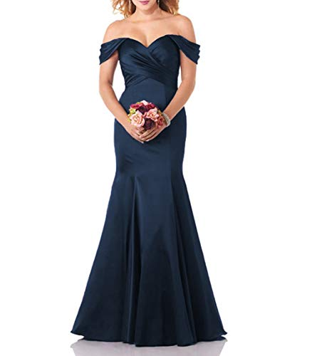 Meaningful Mermaid Off Shoulder Satin Prom Dresses Ruched Long Wedding Bridesmaid Gowns Navy US10