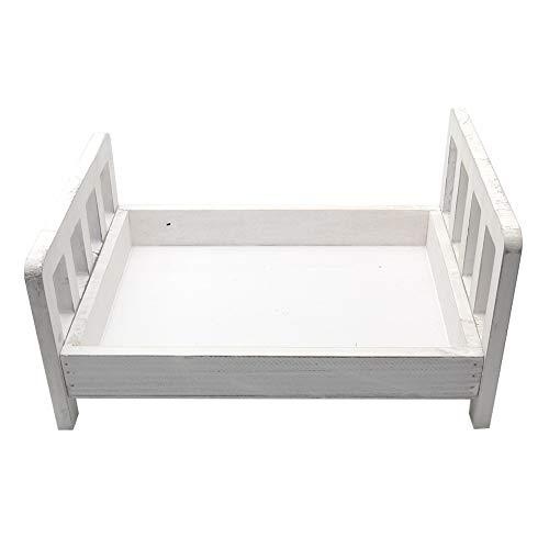 Holzbett-Hintergrund, für Kinderbett, Sofas, Zubehör, Studio-Requisiten, Baby-Fotografie-Korb, Neugeborenen-Geschenk, Säuglings-Foto-Shoot, abnehmbar (rose) (Weiß)