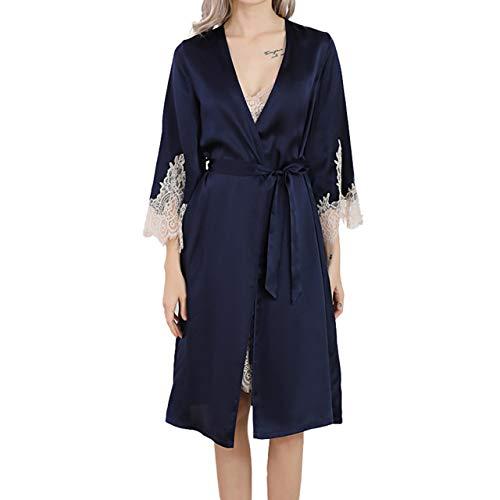 LZJDS Ropa de dormir para mujer, 2 piezas, ropa de dormir de seda larga, elegante, bata kimono con correa, camisón para ropa de estar, azul marino, M