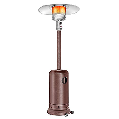 Aussumy Propane Patio Heater Outdoor : Mushroom-Styled Heat-Focusing Warmer Standing Lamp Btu 45000 with Wheels Wedding Party Garden Porch Deck Bronze