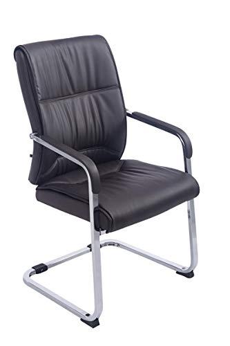 CLP XXL-Freischwinger Anubis mit Kunstlederbezug und gepolsterter Sitzfläche I Pflegeleichter Konferenzstuhl mit Armlehne, Farbe:braun