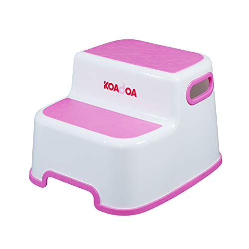 KOADOA 2 Step Stool for Kids, Stool for Toddler Toilet Potty Training Wash Hand, Childrens Bathroom Stool Kitchen Step Stool with Slip Resistant Soft Grip, Dual Height & Wide Two Step (Pink)