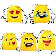 Lote de 20 Mochilas Petates Emoticonos - Mochilas Infantiles, Bolsas Escolares Niños, colegios. Regalos y Detalles para Niños, Cumpleaños y Comuniones