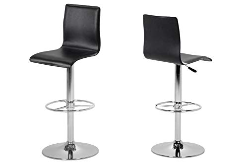 AC Design Furniture Freja Tabourets, Simili cuir, Noir, L: 49 x l: 41 x H: 116,5 cm