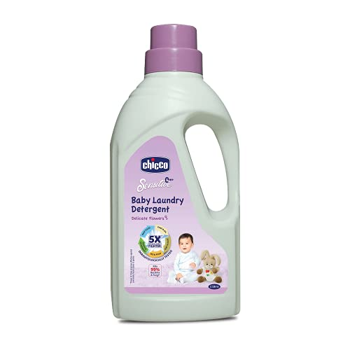 Chicco Baby Liquid Laundry Detergent, 5X Stain & Germ Fighter, Kills 99% of Germs, Dermatologically Tested for Effective & Gentle Cleaning, Delicate FLowers (1 L)
